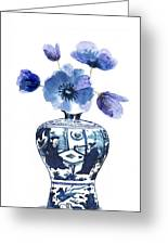 China Blue Vase  With Poppy Flower Greeting Card