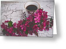 Chinaberry Blossoms And Coffee Cup Greeting Card