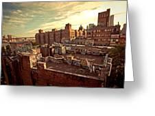 Chinatown Rooftop Graffiti And The Brooklyn Bridge - New York City Greeting Card