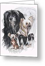 Chinese Crested And Powderpuff W/ghost Greeting Card