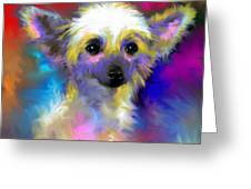 Chinese Crested Dog Puppy Painting Print Greeting Card