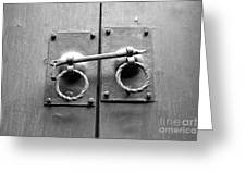 Chinese Door And Lock - Black And White Greeting Card