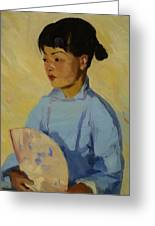 Chinese Girl With Fan 1914  Greeting Card