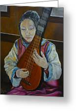 Chinese Lute Player Greeting Card by Barbi Vandewalle