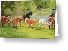 Chisholm Trail Texas Longhorn Cattle Drive Oil Painting By Kmcelwaine Greeting Card