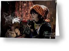 Cho Chin Woman Smoking  Greeting Card