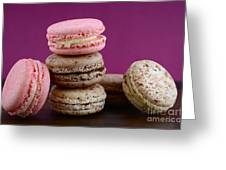 Chocolate And Strawberry Macaroons Greeting Card