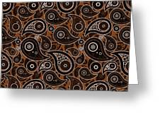 Chocolate Brown Paisley Design Greeting Card