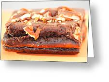 Chocolate Brownie With Nuts Dessert Greeting Card