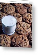 Chocolate Chip Cookies And Glass Of Milk Greeting Card