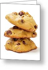 Chocolate Chip Cookies Isolated On White Background Greeting Card