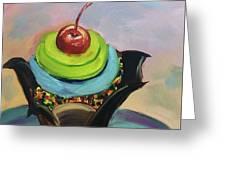 Chocolate Cupcake With Cherry Greeting Card