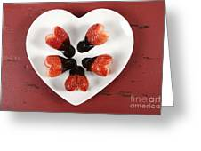 Chocolate Dipped Heart Shaped Strawberries On Heart Shape White Plate Greeting Card