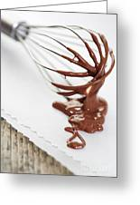 Chocolate Sauce On Whisk Greeting Card