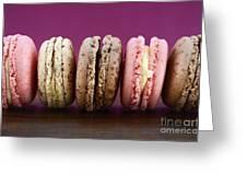 Chocolate Strawberry And Vanilla Macaroons. Greeting Card