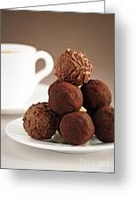 Chocolate Truffles And Coffee Greeting Card by Elena Elisseeva