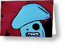 Chomping Zombie Mushroom Greeting Card by Jera Sky