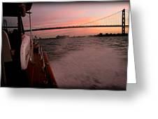 Chris Craft To The Bridge  Greeting Card