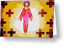 Christ And Crosses Greeting Card