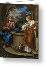 Christ And The Woman Of Samaria Greeting Card