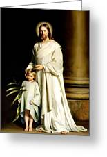 Christ And The Young Child Greeting Card