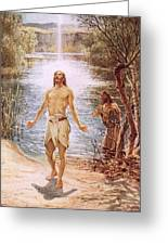 Christ Baptised By John The Baptist Greeting Card