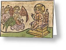 Christ Child With Three Angels Greeting Card