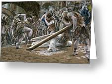 Christ Falls Beneath The Cross Greeting Card by Tissot