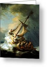 Christ In The Storm Greeting Card by Rembrandt