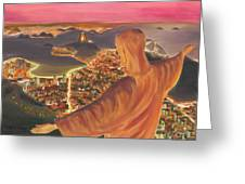 Christ Over Rio Greeting Card