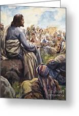 Christ Teaching Greeting Card by English School