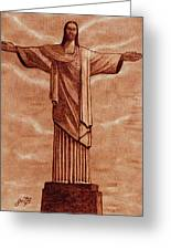 Christ The Redeemer Statue Original Coffee Painting Greeting Card