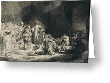 Christ With The Sick Around Him, Receiving Little Children Greeting Card