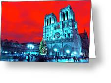 Christmas At Notre Dame Pop Art Greeting Card