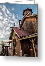 Christmas Barn On The Lake Greeting Card