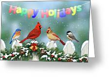 Christmas Birds And Garland Greeting Card by Crista Forest