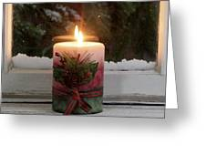 Christmas Candle Glowing On Window Sill With Snowy Evergreen Bra Greeting Card