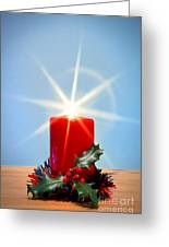 Christmas Candle With Starburst And Holly. Greeting Card