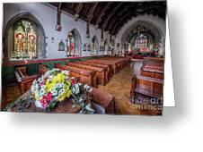 Christmas Church Flowers Greeting Card