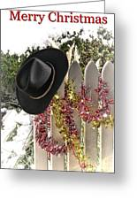 Christmas Cowboy Hat On Fence - Merry Christmas  Greeting Card