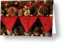 Christmas Decorations Of Garlands And Pine Cones Greeting Card