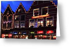 Christmas Decorations On Buildings In Bruges City Greeting Card