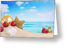 Christmas Decorations On The Beach Greeting Card