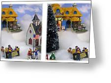 Christmas Display - Gently Cross Your Eyes And Focus On The Middle Image Greeting Card