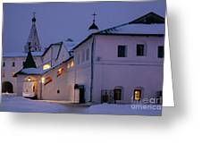Christmas Evening Light In The Temple Suzdal Greeting Card
