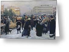 Christmas Fair  Greeting Card by Heinrich Matvejevich Maniser