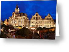 Christmas Fair In Front Of Town Hall Greeting Card