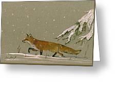 Christmas Fox Snow Greeting Card