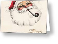 Christmas Greetings 1229 - Vintage Christmas Cards - Santa Claus With Pipe Greeting Card