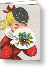 Christmas Greetings 1236 - Vintage Christmas Cards - Little Girl With Snow Ball Greeting Card